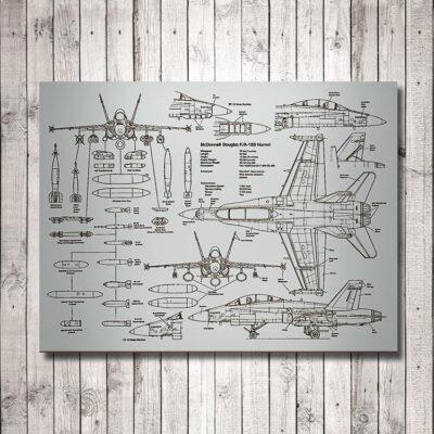 F18 Hornet Patent Carved Wooden Art Sign