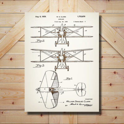 Modern Airplane Aviation Patent Carved Wood Art SIgn