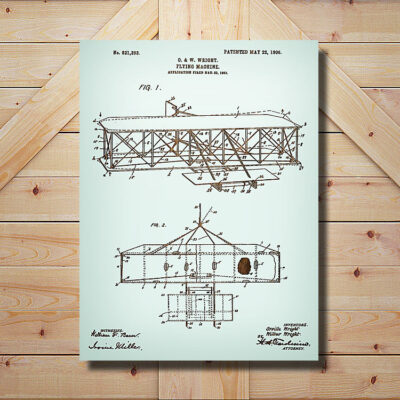 Wright Brothers Flying Machine Patent Carved Wood Art