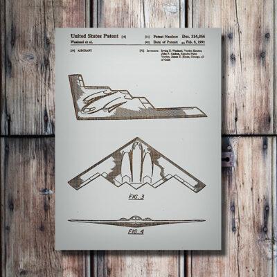 B-2 Bomber Patent Art Wood Sign
