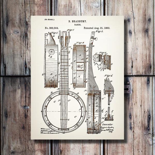 Banjo Patent Wood Art Sign