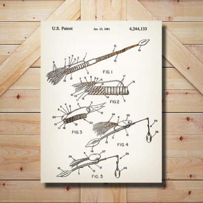 Bared Fishing Lure Patent Wooden Art Sign