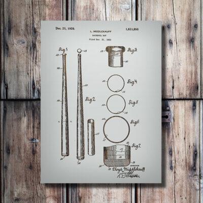 Baseball Bat Patent Wooden Art Sign