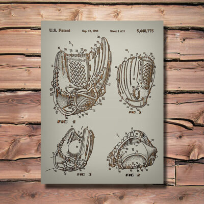 Baseball Glove Patent Carved Wooden Sports Art Sign