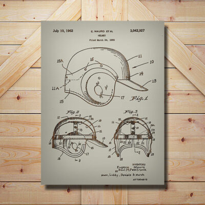 Baseball Helmet Patent Art Carved Wooden Sports Sign