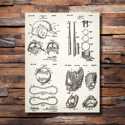 Baseball Helmet Bat Ball Glove Patent Art Sign