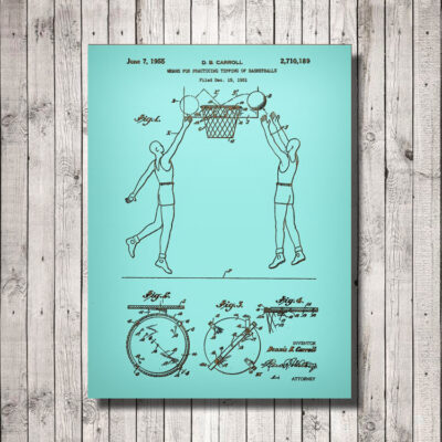 Basketball Practice Tipping Patent Art Wood Sign