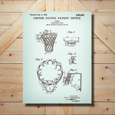 Basketball Goal Patent Carved Wood SIgn