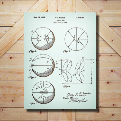 Basketball Patent Art Carved Wooden Sign