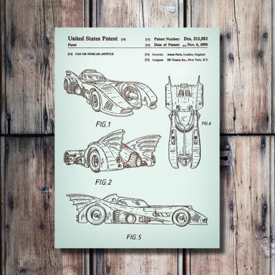 DC Comics Batmobile Patent Carved Wood Sign