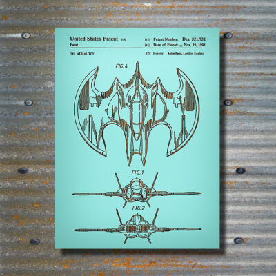 DC Comics Batplane Patent Carved Wood Art Sign