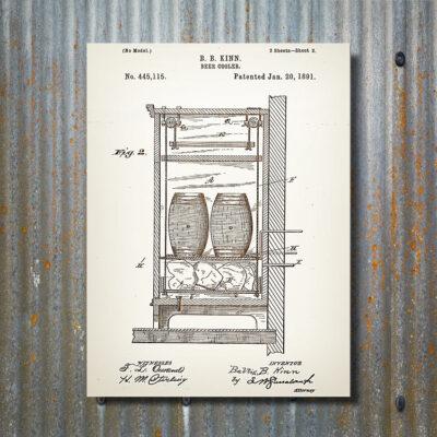 Beer Cooler Patent Art Wooden Sign