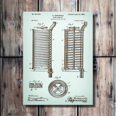 Beer Cooler Carved Wooden Patent Art
