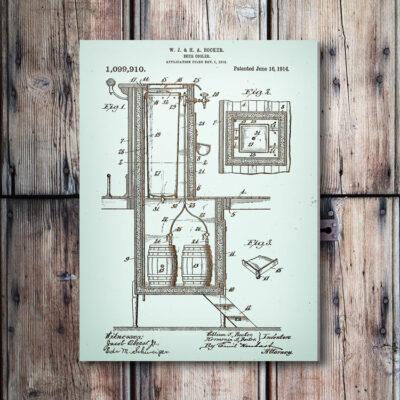 Beer Cooler Wooden Patent Art Bar Decor