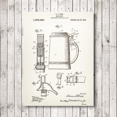 Beer Stein Wooden Patent Art