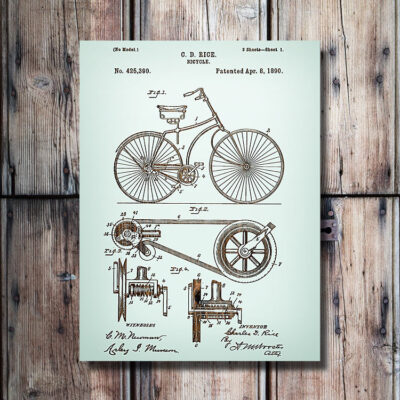 Bicycle Patent Wood Art Sign