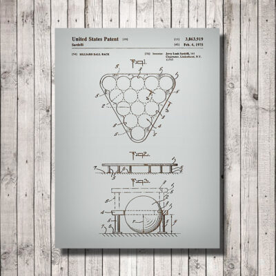 Billiard Ball Rack Patent Carved Wooden Art SIgn