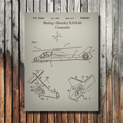 Boeing Sikorski Comanche Helicopter Patent Carved Wood Sign