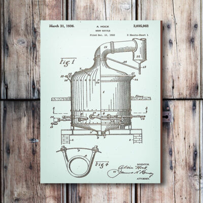 Brew Kettle Wooden Patent Art Sign