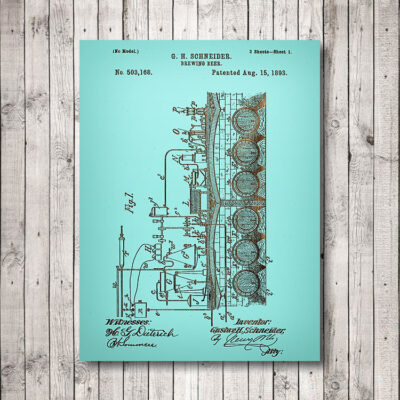 Brewing Beer Patent Art Wooden Sign