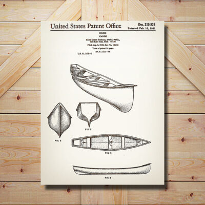 Canoe Patent Carved Wooden Art Sign