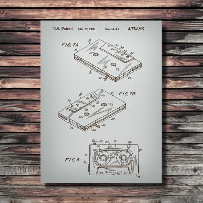 Cassette Tape Patent Art Wooden Sign