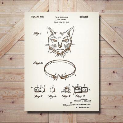 Cat Collar Patent Wood Art Sign