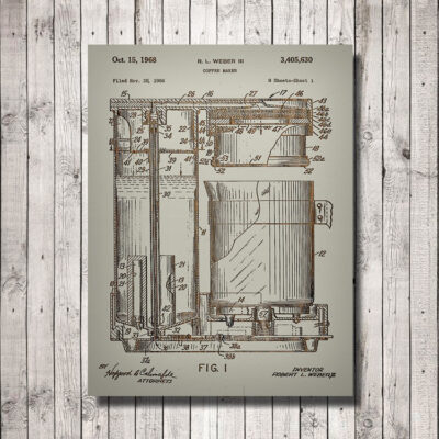 Coffee Maker Patent Wooden Art Sign