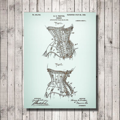 Corset Patent Carved Wood Art Sign