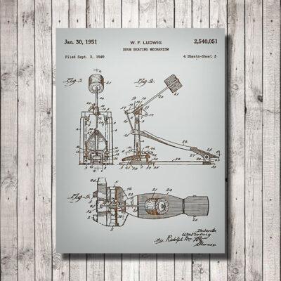 Drum Pedal Patent Art Wood SIgn