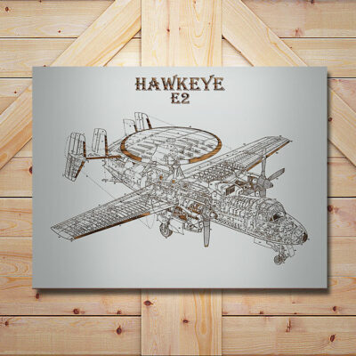 E2 Hawkeye Patent Carved Wood Art Sign
