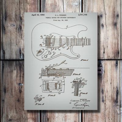 Fender Guitar Patent Art Wood Sign
