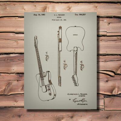 Fender Telecaster Guitar Patent Wood Carved Art