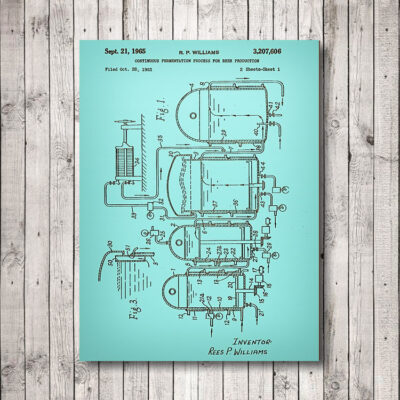 Beer Production Patent Art Carved Wooden Art Sign