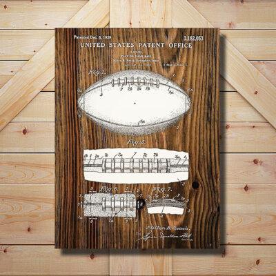 Football Patent Art Wood Sign