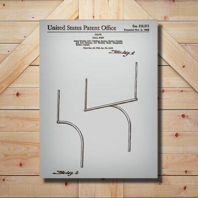 Football Goal Post Patent Art Wood Sign