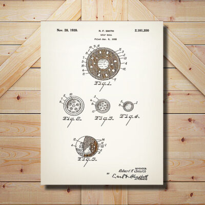 Golf Ball Patent Carved Wooden Art Sign