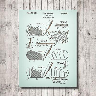 Barnhart Golf Club Patent Art Wooden Sign