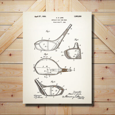 Golf Driver Patent Carved Wooden Art Sign