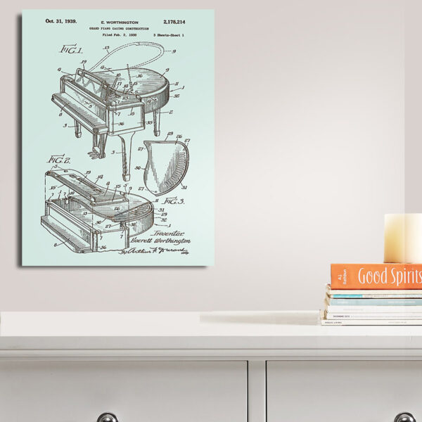 Grand Piano Patent Art Laser Carved Wood SIgn