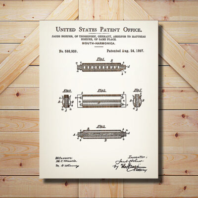 Harmonica Patent Carved Wooden Art Sign