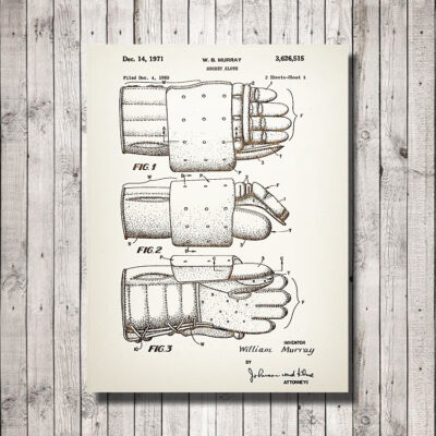 Hockey Glove Patent Carved Wood Sign