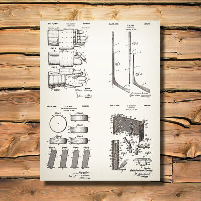 Hockey Patent Carved Wooden Art Sign