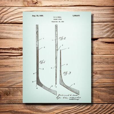 Hockey Stick Patent Art Wood Sign