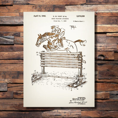 Horse Training Patent Oxers Jumping Fence Carved Wooden Art SIgn