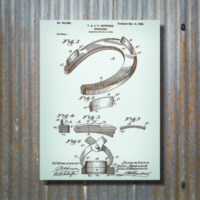 Horseshoe Patent Art Carved Wooden Sign