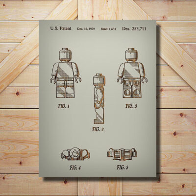 Lego Man Patent Carved Wooden Art Sign