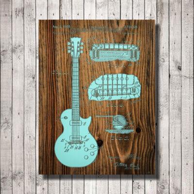 Les Paul Guitar Patent Wood Art Sign