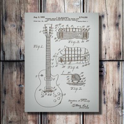 Les Paul Guitar Patent Wood Art