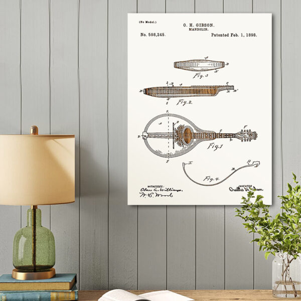Mandolin Patent Wooden Art Sign